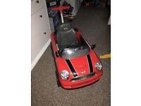 RED MINI CAR AND BLUE MONKEY TRIKE