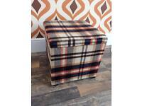 Checked pattern fabric ottoman storage