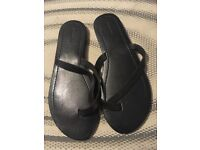 All saints ladies black leather flip flops brand new