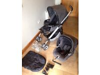 Mamas and Papas Pram - Charcoal grey City Scape Pilko Switch pram with Primo Viaggio IP Car seat