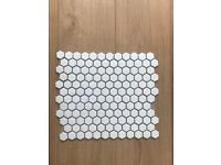 White Hexagon Mosaic Tiles