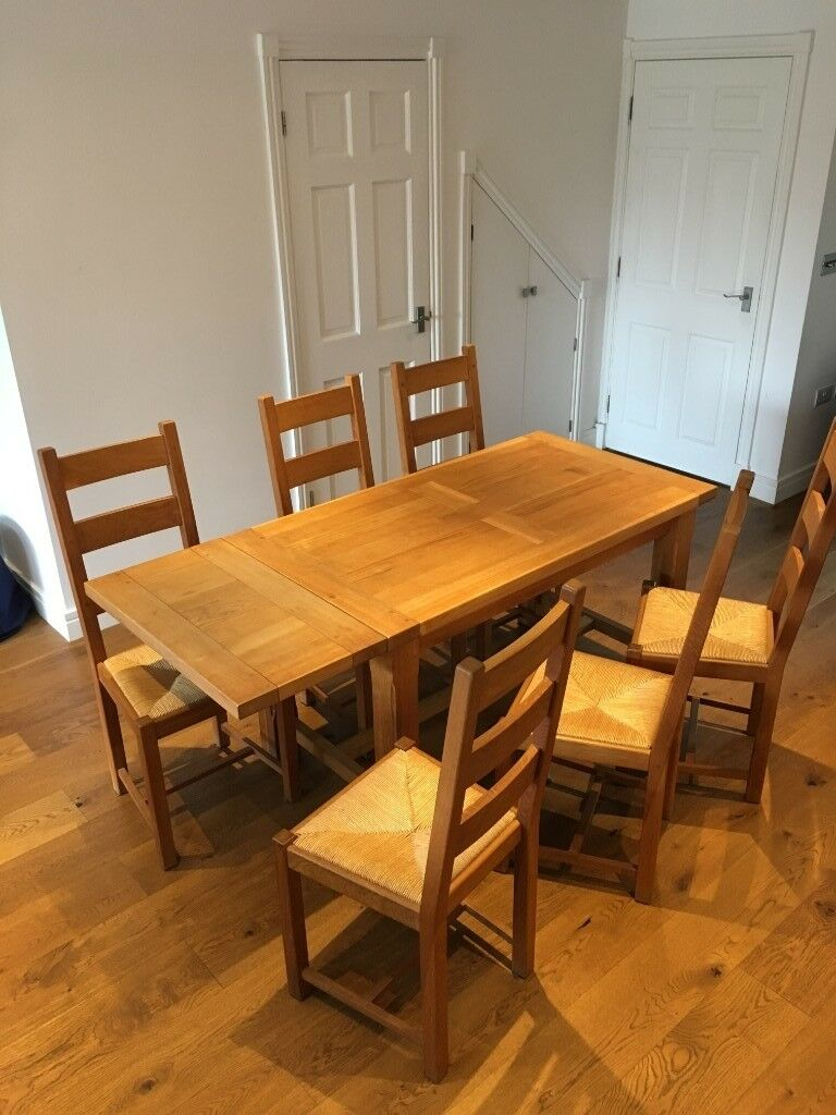 House Of Fraser Solid Oak Extending Dining Table 6 Chairs