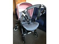 Bugaboo Bee 3 Pushchair with Bassinet in Grey Melange with Pink Hood. Inc Raincover Cocoon Parasol