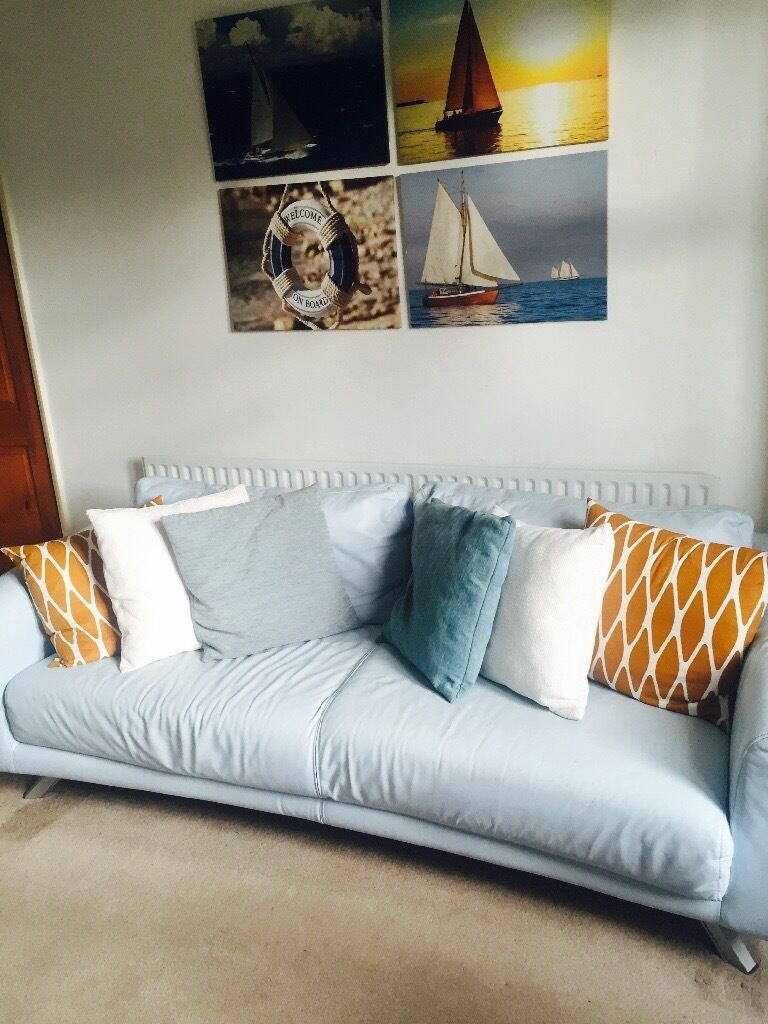 Blue leather sofa for sale in leicester leicestershire for Blue couches for sale