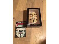 V for vendetta mask and book