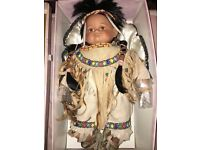 """Porcelain Doll """"Leonardo Collection"""" Red Indian. Still in Box. Pristine Condition Doll."""