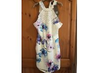 White high neck dress with flower print