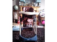 Luxury Cosatto Aurora High Chair in Chocolate Brown Leatherette
