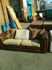 Fabric and Leather 2 Seater Sofa