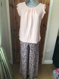 Ladies New Look wide leg trousers and ladies Dorothy Perkins blouse