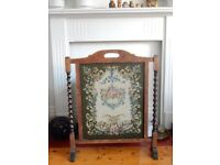 Vintage Antique Fire Guard Screen Dark Wood Tapestry Victorian Edwardian