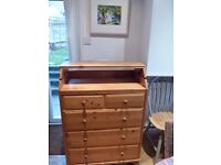 Pine chest of drawers with baby changing shelf