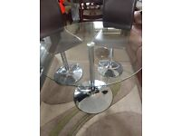 Round glass table & 2 chairs