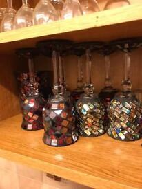 Beautiful gothic wine glasses and matching vase