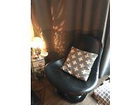Black Ikea Leather 'Egg' Chair