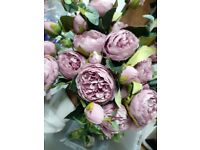 Artificial Purple Lilac Peonies Roses x 15 used