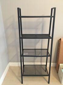 Grey shelving rack