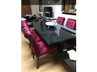 Stunning Nero granite effect dining table and chairs