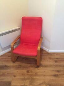Red cloth recliner chair