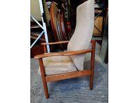 Vintage retro teak wooden Ercol mid century armchair lounge chair reupholstery
