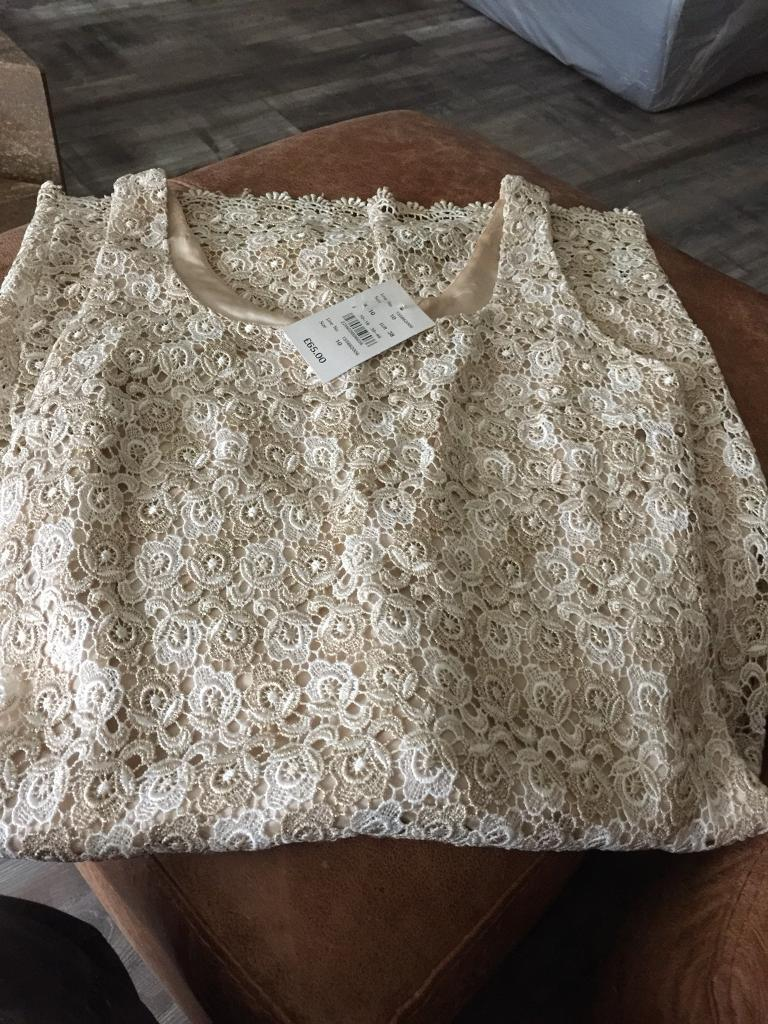Ladies Wallis cream /gold dress wedding/party outfit. Nee