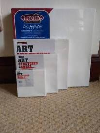 Selection of stretched wooden art canvases