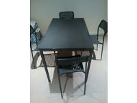 Black ikea Dining table with 4 chairs