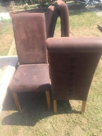 Suede type chairs x 4