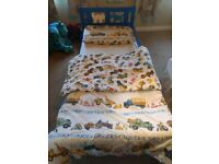 Lovely blue child's bed including mattress. Very good condition. 70cm x 160cm. Suit 2 to 5 year old.