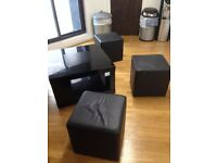 Black Gloss Coffee Table with 3 Stools