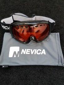 ski goggles, helmet, gloves