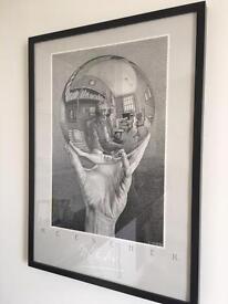 Black Framed Escher Print - Monochrome Sketch Art 50x70 cm