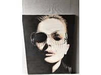 60 X 80 LADY WITH SUNGLASSES CANVAS PAINTING ORIGINAL £30 ONO DAVID BOWIE KATE MOSS LOOK