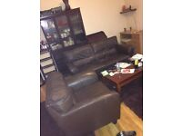 Bargain *** DARK BROWN LEATHER SOFA with ARMCHAIR ***