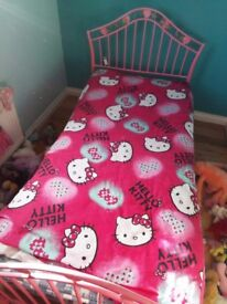 Girls single bed great condition smoke free pink.heart bed frame and.heart bed lights