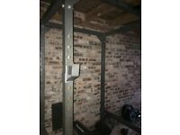 Home Gym - Power Squat Rack - 2 x Olympic bars - 250 kg + Weights - Dumbells - Pulley