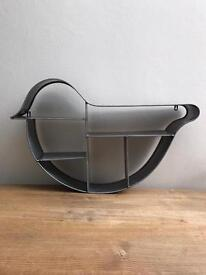 Bird shaped industrial metal shelving unit retro vintage