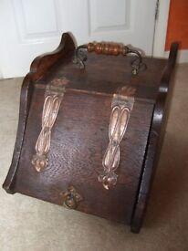Wooden Art Nouveau Coal box