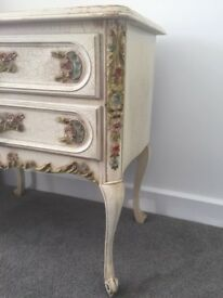 Antique style chest with two drawers, distressed style paintwork