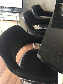 BARGAIN 3 black leather breakfast/bar stools