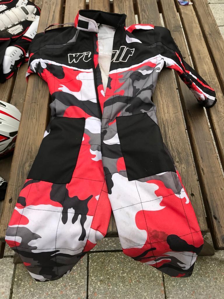 Motocross body armor and helmet