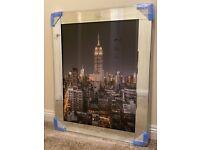 New York Empire State Glass Picture Mirror Framed Liquid Art (95x75cm) – BRAND NEW