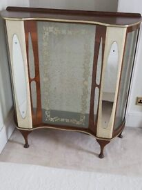 Vintage/Retro glass fronted drinks/display cabinet