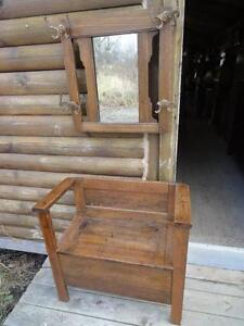 ANTIQUE ENTRANCE BENCH/ MIRROR