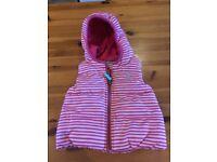 Pink stripe Joules hooded bodywarmer/gilet