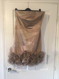 Karen Millen cocktail dress in blush with satin blush roses on the hem in size 14