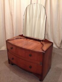 Dressing Table 1930's 1940's Art Deco Walnut Mirror Back Dressing Table Retro Vintage See Delivery