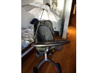 Stokke Xplory Dark Olive Green Standard Single Seat Stroller and Carrycot from birth to 4 years