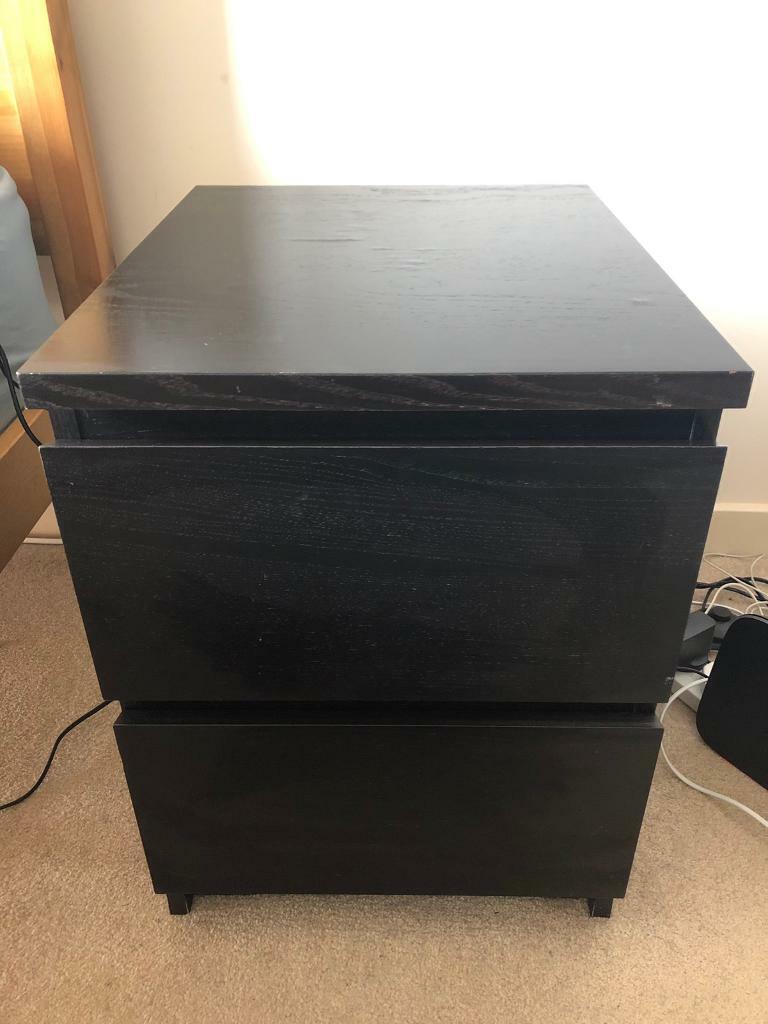 Two Black Bedside Tables Ikea Malm In Crewe Toll Edinburgh Gumtree