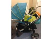 icandy blue single stroller and moses basket